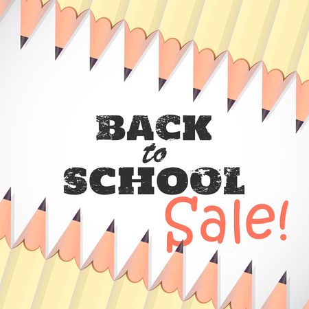 Back to school background. 3D white Pencils.Grunge text effect. Sale banner. Vector illustration.