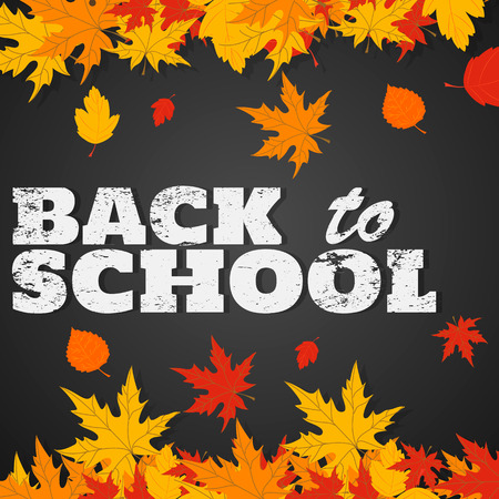 Back to school background. Black chalkboard with frame of falling autumn leaves. Grunge effect, chalk drawn text. Vector illustration.