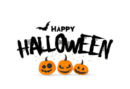 Happy halloween banner. Vector illustration with pumpkins and bats. Trick or treat.