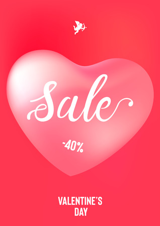 Happy Valentine's Day sale banner with calligraphy text and red baloon hearts. Vector illustration Illusztráció