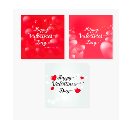 Happy Valentine's Day set cards with calligraphy text and red baloon hearts. Vector illustration