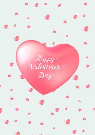 Happy Valentine's Day card with calligraphy text and red baloon hearts. Vector illustration Illusztráció