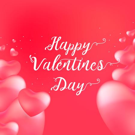 Carte de Saint-Valentin heureuse avec texte de calligraphie et coeurs de ballons rouges. Illustration vectorielle Vecteurs