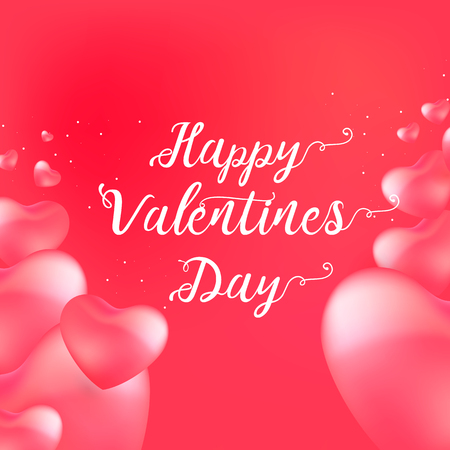 Happy Valentine's Day card with calligraphy text and red baloon hearts. Vector illustration Vektorové ilustrace