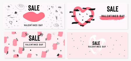 Happy Valentine's Day set of sale banners with text. Trendy background with hand drawn brush paints. Vector illustration