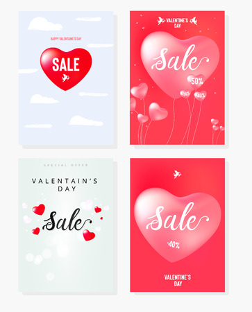 Happy Valentine's Day set of sale banners with calligraphy text and red baloon hearts. Vector illustration