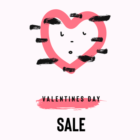 Happy Valentine's Day sale banner with text and red baloon hearts. Trendy background with hand drawn brush paints. Vector illustration Illusztráció