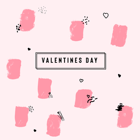 Happy Valentine's Day card with text and red baloon hearts. Trendy background with hand drawn brush paints. Vector illustration