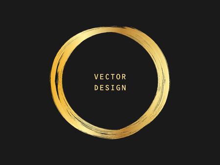 Metalic gold circle shape. Label, logo design element, frame. Brush abstract wave. Vector illustration. Illusztráció