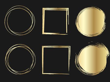 Set of Gold Circle Stains, Shapes. Vector illustration. Hand Drawn Metalic Circles Collection. Illusztráció