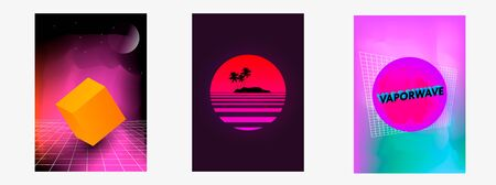 Set of posters Vaporwave, seapunk, synthpop style, neon aesthetics of 80s. Tropical summer theme.