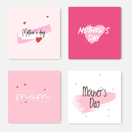 Set of Happy Mothers Day lettering greeting cards template. Hand drawn elements and letters. Suitable collection for background, banner, sticker, e-mail, website. Vector illustration Ilustrace