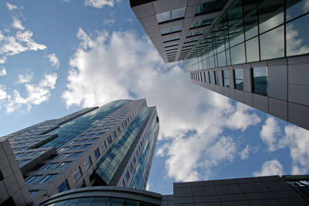 Worms eye view of two office towers