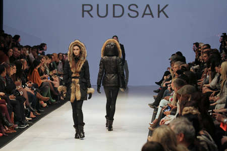 rudsak: TORONTO - MARCH 15: Models walk the runway in the Rudsak runway show for the FallWinter 2012 season at Torontos World Mastercard Fashion Week on March 15th 2012. Editorial