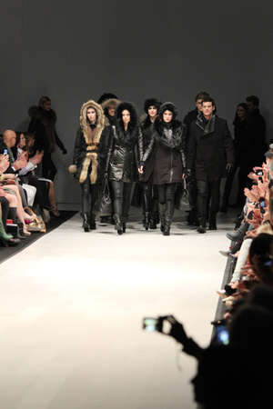 world master card fashion week: TORONTO - MARCH 15: Models walk the runway in the Rudsak runway show for the FallWinter 2012 season at Torontos World Mastercard Fashion Week on March 15th 2012. Editorial