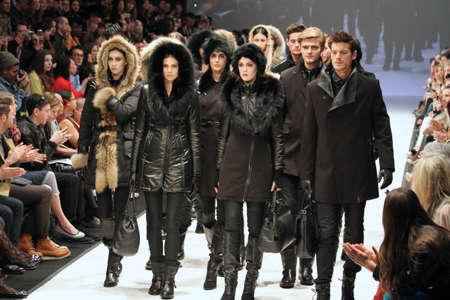 TORONTO - MARCH 15: Models walk the runway in the Rudsak runway show for the FallWinter 2012 season at Torontos World Mastercard Fashion Week on March 15th 2012.