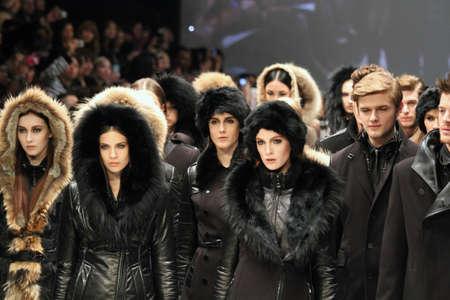 TORONTO - MARCH 15: Models walk the runway in the Rudsak runway show for the FallWinter 2012 season at Torontos World Mastercard Fashion Week on March 15th 2012. Editorial