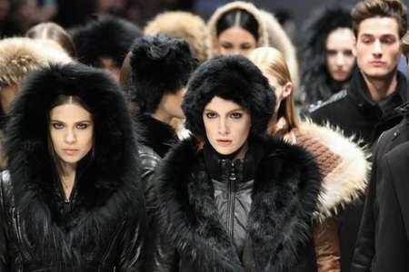 toronto fashion week: TORONTO - MARCH 15: Models walk the runway in the Rudsak runway show for the FallWinter 2012 season at Torontos World Mastercard Fashion Week on March 15th 2012. Editorial