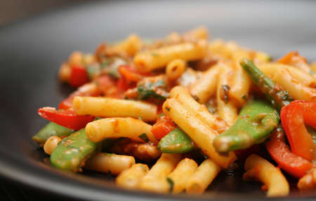Shallow Depth of field shot of home made pasta with vegetables
