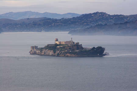 High angle view of Alcatraz Island in San Francisco Bay