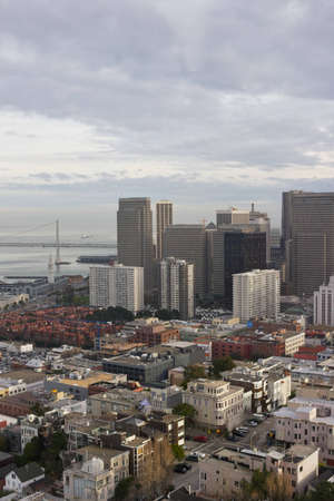 A high angle view looking into Downtown San Francisco Stock Photo
