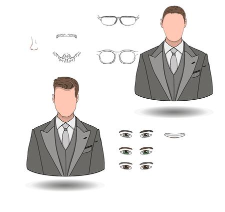 Volumetric set of businessmen icons, make yourself.