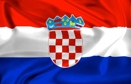 national flag of croatia waving in the wind Stock Photo