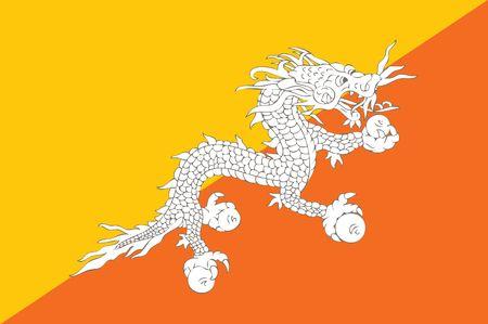 bhutan: national flag of bhutan