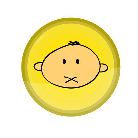 web button with illustrated face
