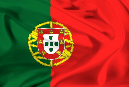 national flag of portugal waving in the wind photo