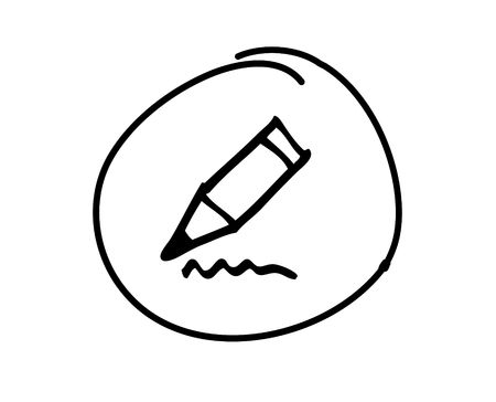 web button with hand drawn symbol
