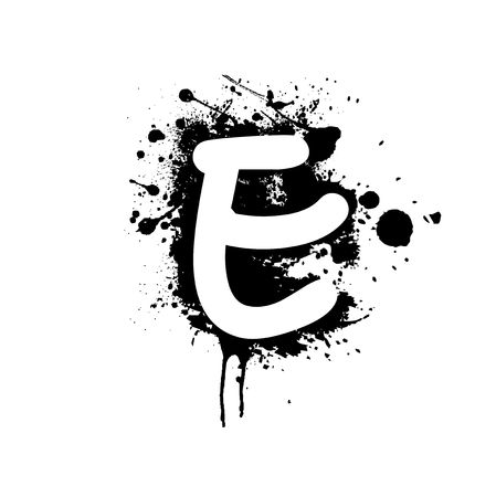 letter E with ink splat effect