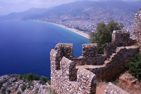 panorama view to alanya city in turkey Stock Photo