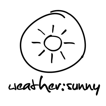 web button with hand drawn symbol - weather: sunny photo