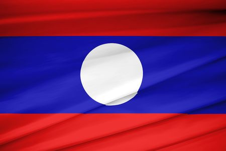 national flag of Laos waving in the wind Stock Photo