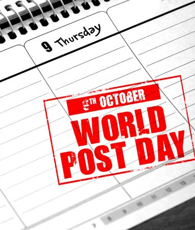 9th: 9th october - world post day Stock Photo