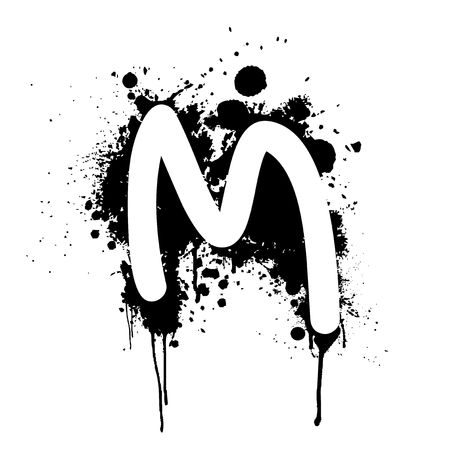 letter M with ink splat effect isolated on white background Stock Photo