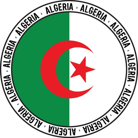 national flag of algeria designed as rubber stamp Vector