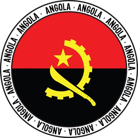 national flag of angola designed as rubber stamp