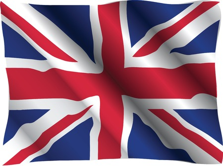 vector flag of United Kingdom waving in the wind