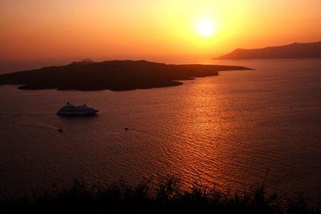 sunset in Santorini island photo