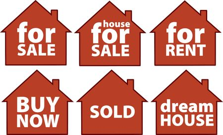 house for sale: house for sale signs Stock Photo