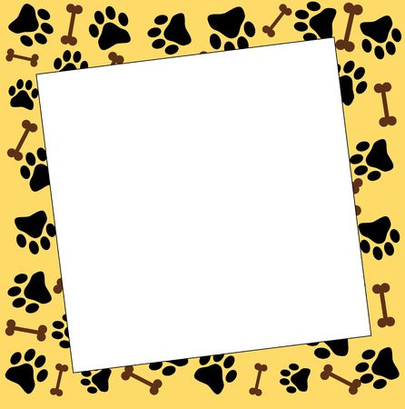 frame with paw prints Stock Photo