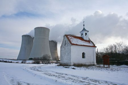 cooling towers and church