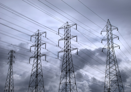 megawatts:  Power lines backed by a stormy sky