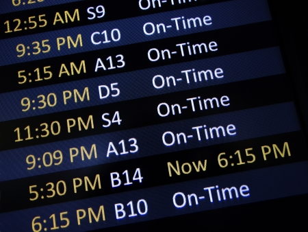 Airport signage alerting passengers of a delay