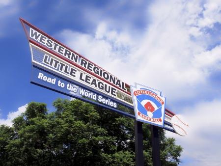 San Bernardino, Ca. USA - August 3,2013 : Welcome sign for Little Leagues Al Houghton youth Baseball complex. Every August the best teams from 13 western States compete here to have the right to move to the next round of games for a chance to be wofld Ch
