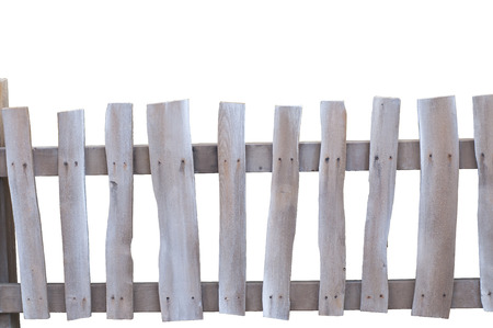 Old Rustic worn and dicolored Fence on white background Imagens - 24053873