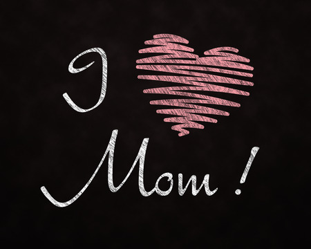 i love you: Chalkboard I love you Mom with Red heart Stock Photo