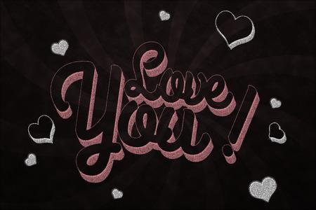 Love you on chalkboard Imagens - 27569443